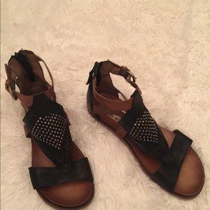 Miz Mooz Leather Cut Out Sandals w/stud detail